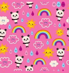 Cute panda bears rain drops rainbows and clouds vector