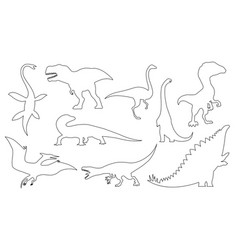 dinosaur silhouettes set coloring dino monsters vector image