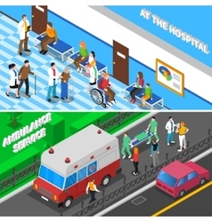 Doctor Patient Relationship 2 Isometric Banners vector