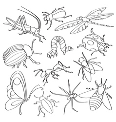 Doodle insects vector