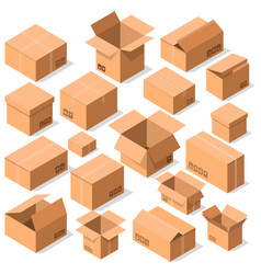 Empty opened cardboard boxes icon set vector