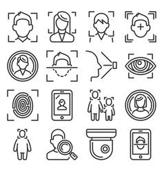 face id system icons set on white background line vector image
