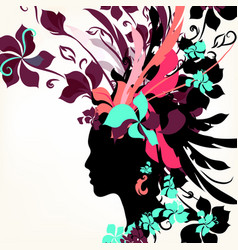 fashion background with female face vector image