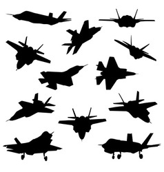 Fighter aircraft silhouettes vector