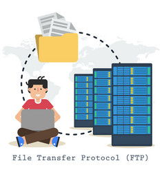 file transfer protocol concept with man folder vector image