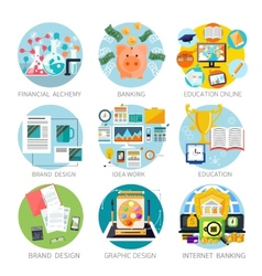 Financial alchemy education graphic design vector