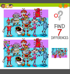 find differences with robot characters vector image