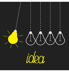 Five hanging yellow light bulbs Perpetual motion vector