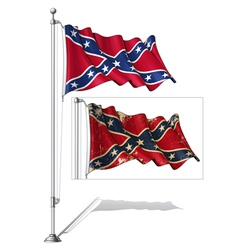 Flag Pole Confederate Rebel vector image
