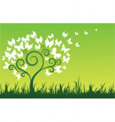 Floral graphic design butterflies tree vector