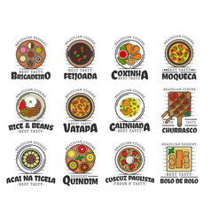 Food and desserts brazilian cuisine isolated vector