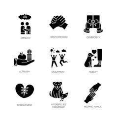Friendship and support black glyph icons set on vector