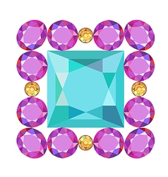 Gemstone rim princess cut square brooch vector