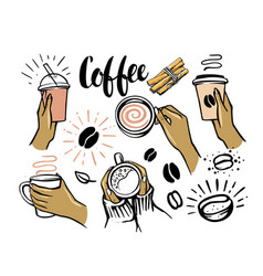 girl holding cup coffee or tea in her hands vector image