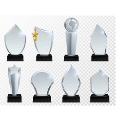 Glass award transparent crystal trophy acrylic vector