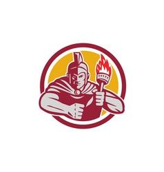 Greek Warrior Torch Circle Retro vector image
