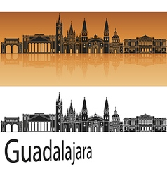 Guadalajara skyline in orange vector
