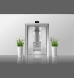 Half open doors metal chrome elevator a vector