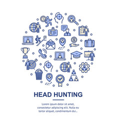 Head hunting signs round design template thin line vector