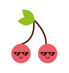 kawaii cherry cartoon vector image