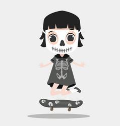 Kid halloween character wearing skeleton vector