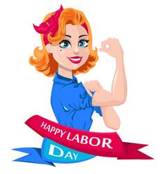 Labor day greeting card pop art vector
