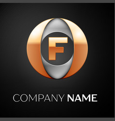 letter f logo symbol in the colorful circle on vector image
