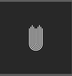 Letter u logo monogram smooth parallel thin lines vector