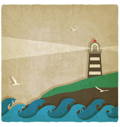 Lighthouse on cliff by sea old background vector