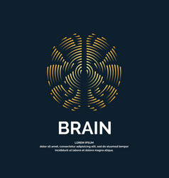 Logo brain color silhouette vector