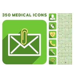 Mail Attachment Icon and Medical Longshadow Icon vector