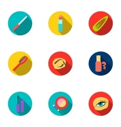 Make up set icons in flat style Big collection of vector