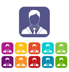 Man in business suit icons set vector