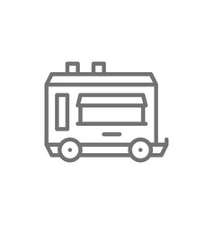 mobile kitchen food trailer line icon vector image