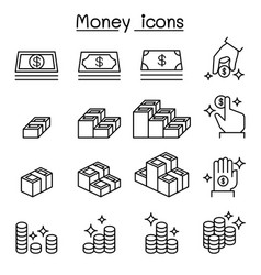 money cash coin currency icon set in thin line vector image