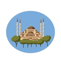 Mosque icon in cartoon style vector image