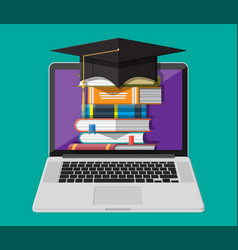 notebook hat and stack book online education vector image