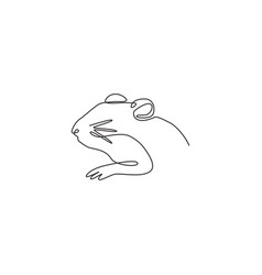 one continuous line drawing adorable hamster vector image