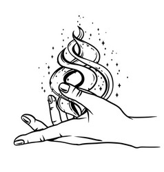 Open hand with magic fire vector
