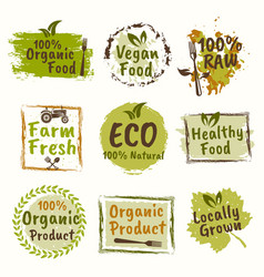 organic and healthy food set of emblems vector image