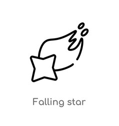 outline falling star icon isolated black simple vector image