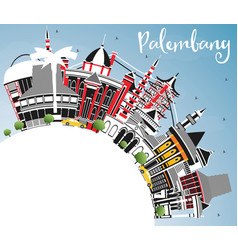 Palembang indonesia city skyline with gray vector