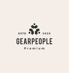 people gear hipster vintage logo icon vector image