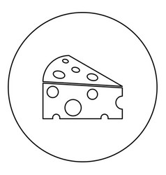Piece cheese black icon outline in circle image vector