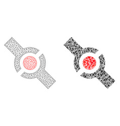 Polygonal carcass mesh connector and mosaic icon vector