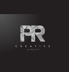 Pr p r letter logo with zebra lines texture vector