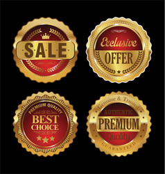 quality retro golden badges collection 2 vector image