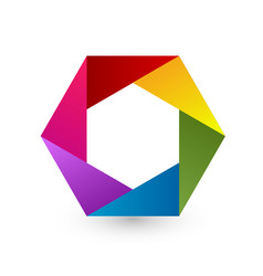 rainbow hexagon icon vector image