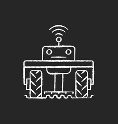 Robotics in agriculture chalk white icon on black vector