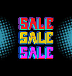 sale black blue pop art background vector image